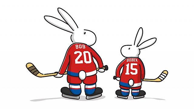 Bob a Bobek, maskoti hokejového MS 2015 v Praze a Ostravě, zezadu, Zdroj: Regiony ČR/Mistrovství světa IIHF v ledním hokeji 2015