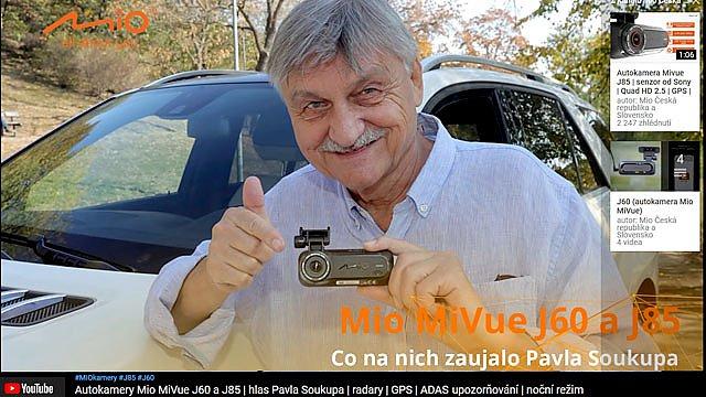 Hlas k autokameře Mio MiVue J85 namluvil Pavel Soukup, český hlas Arnolda Schwarzeneggera